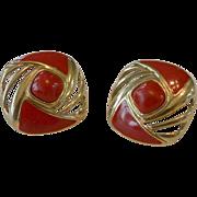 Trifari Red Enameled Post Earrings