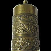 Antique Brass Vesta Go To Bed Match Safe, Candlestick