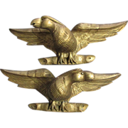 Pair Hand Carved Gilt Wood Bald Eagle Architectural Elements