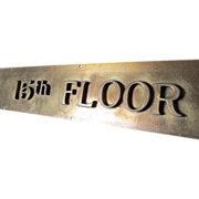 SALE PENDING Old Bronze 15th Floor Elevator Indicator Architectural Sign