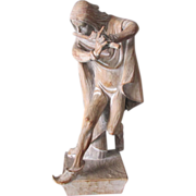 Fine Mid Century Hand Carved Sculpture of the Pied Piper