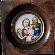 Lovely Antique Miniature Portrait Madonna, Joseph, Jesus & a Child