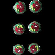 6 Matching Antique Art Nouveau Enamel Poppy Flower Buttons