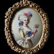 Antique Miniature Victorian Porcelain Plaque of French Lady