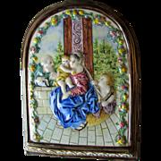 Antique Italian Majolica, Faience Mary, Joseph, Jesus Plaque, Signed