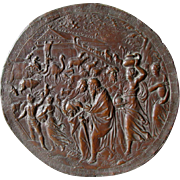 19thC Biblical Repousse Bronze Plaque of Noah's Ark