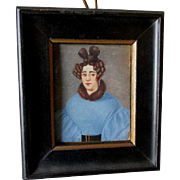 SALE PENDING Folk Art Miniature Painting of Lady in Blue Dress with Fancy Hair Do