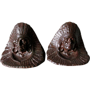 c1920s Arts & Crafts Native American Indian Chief Bookends