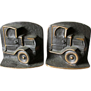 Rare Pair c1920s Bronze Mack Truck Bookends, Advertising