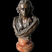 SALE PENDING Miniature Johann Schiller Bronze Bust, Austrian, J. Kalmar Foundry