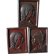 3 Fine Hand Carved Folk Art Plaques, Signed by Artist G Arias