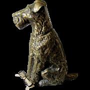 SALE PENDING Adorable c1920s Art Deco Figural Terrier Dog Fireplace Tool Set