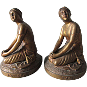 Lovely c1930s Joan of Arc Figural Bookends by Jennings Brothers