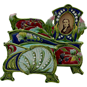 SALE PENDING Rare c1890 Art Nouveau Majolica Desk Letter Holder & Picture Frame