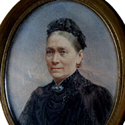 Lovely Antique Miniature Painting of Elegant Victorian Woman