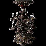Antique Victorian Cast Iron 2 Tier Thread Holder & Pincushion
