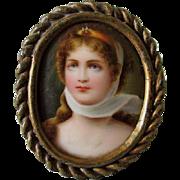 19thC Hand Painted Miniature Porcelain Plaque of Napoleon's Josephine