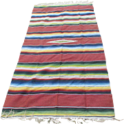 c1920-30s Hand Woven Mexican Chimayo Blanket, Throw or Tablecloth