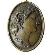 SOLD Antique Bronze Plaque of a Lovely Lady