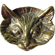 Nice Antique English Brass Tray of a Cat