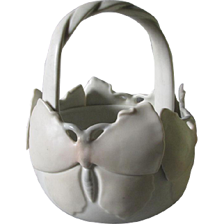 Arts & Crafts, Mission Style Art Pottery Butterfly Basket Vase Signed ORR