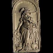 SOLD 19th Antique Victorian Repousse Plaque of Renaissance Lady