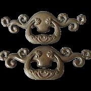 Pair Large Art Nouveau Bronze Architectural Handles