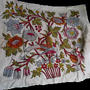 Vintage Linen Panel, with Bird & Flowers Crewel Design
