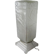 Pretty c1930s Art Deco Frosted Glass Lamp with Birds
