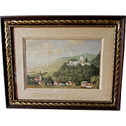 Antique European Watercolor Painting of Castle & Village,  Landscape
