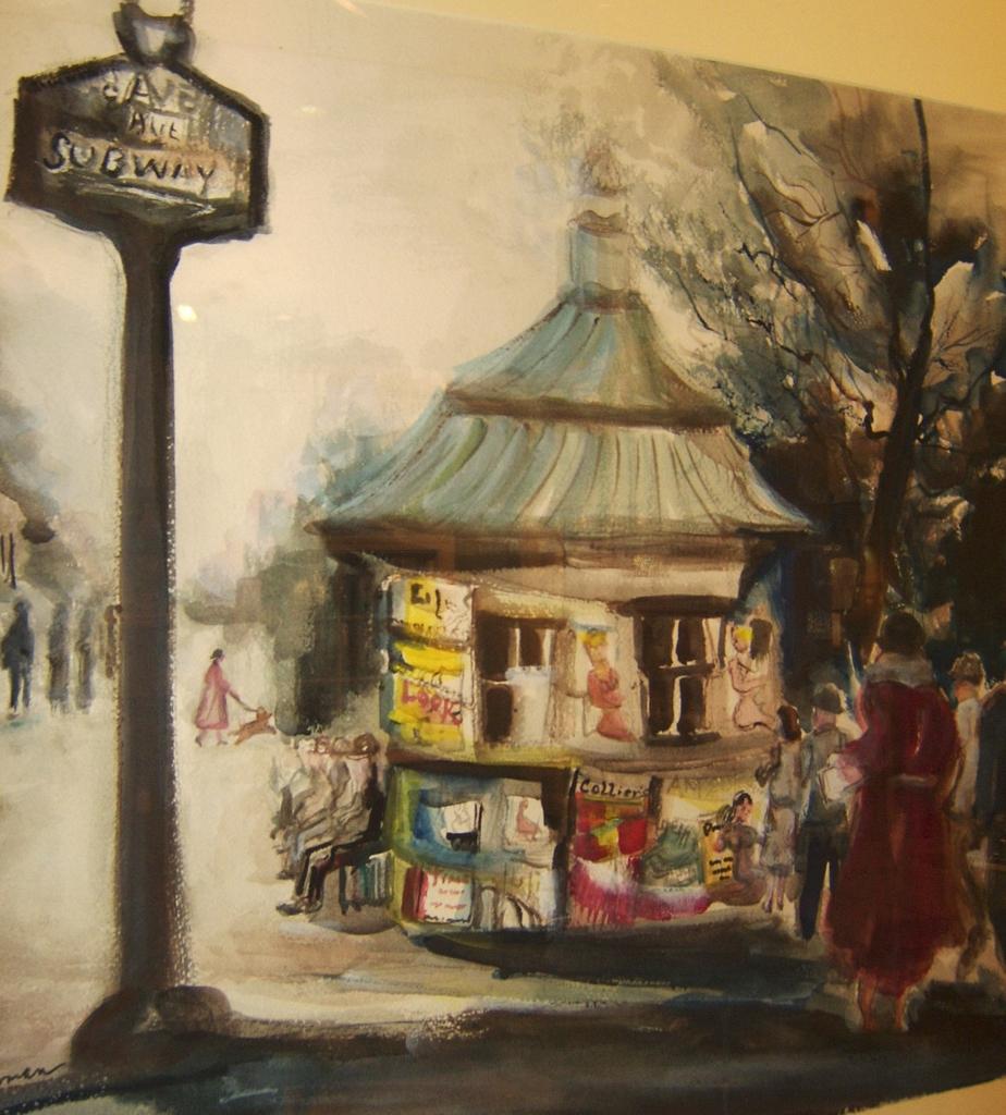 Irene Hodes Newman Watercolor, New York City Scene