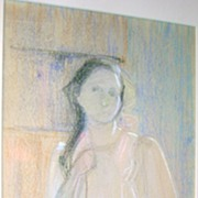 Lucy Hariot Booth Color Sketch of Woman Standing
