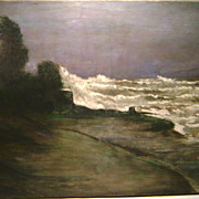 "Irving Ramsey Wiles Oil Painting ""Stormy Sea"""