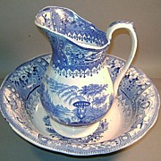 Canova Staffordshire Blue & White Pitcher and Bowl