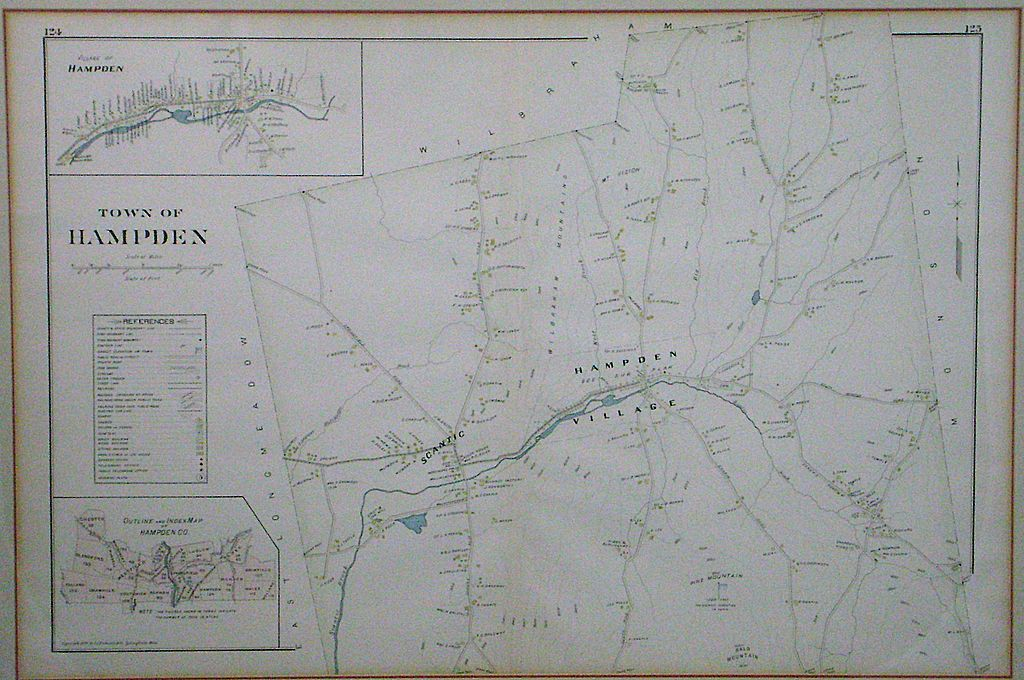 1894 Richards Steel Engraved Hand-Colored Map of Hampden, Mass