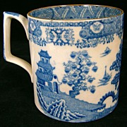 19th c. Staffordshire Blue Transferware Tankard or Mug
