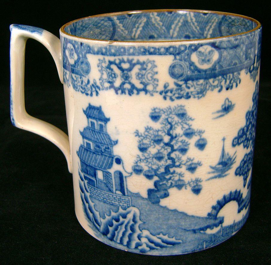 19th c. Staffordshire Blue Transferware Tankard or Mug