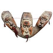20th c. Oceanic Triple Mask Canoe Prow Shield