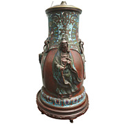 18th/19th c. Chinese Champleve Bronze Vase Lamp