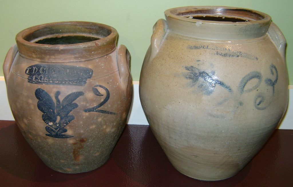 2 T.D. Chollar Blue Decorated Stoneware Ovoid Crocks
