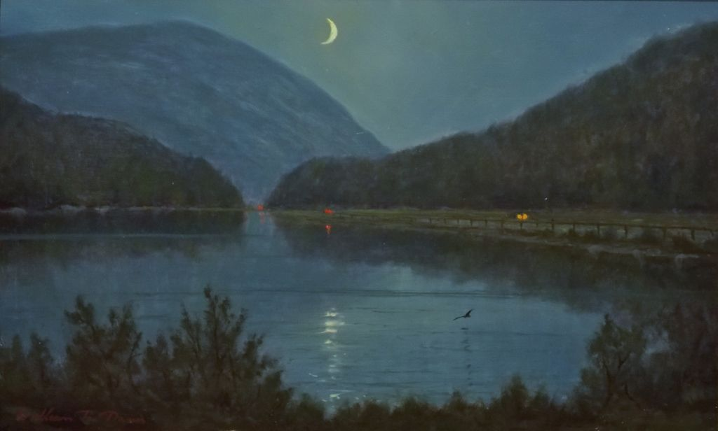 William R. Davis Oil Painting Moonlight Over Crawford Notch NH