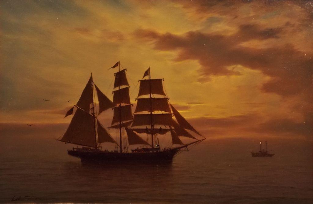 """William R. Davis Marine Oil Painting """"Almost Home"""""""