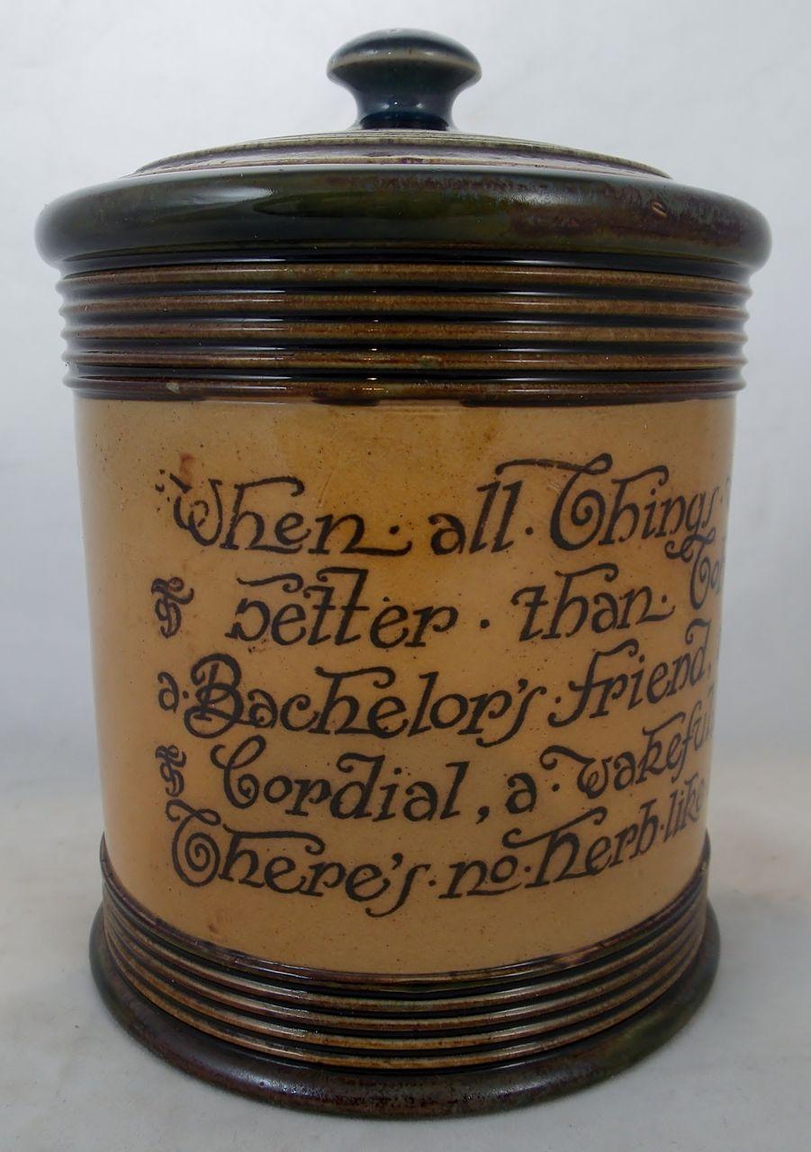 Royal Doulton Pottery Covered Tobacco Jar c. 1910