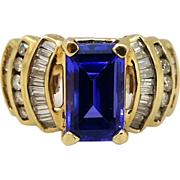 14 Karat Gold Tanzanite & Diamond Woman's Ring