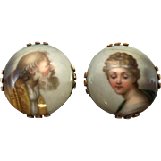Pair of Late 19th c KPM Porcelain Buttons or Cufflinks, St. Sixtus & St. Barbara