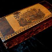 Antique 19th C Century GEORGIAN Tunbridgeware Box with CASTLE & Roses To Die For!