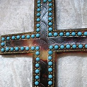 Vintage 20s Large French Art DECO Cradle Cross Pendant Faux Tortoiseshell Turquoise Glass WOW!
