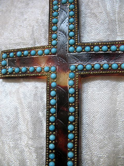 Vintage 20s Large French Art DECO Cradle Cross Pendant Faux Tortoiseshell Turquoise Glass WOW!
