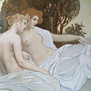 Antique 19th Century ROSSLER Austrian Art NOUVEAU Original Litho Print Semi NUDE Ladies in Landscape WOW!