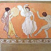 Antique Art NOUVEAU Print Lithograph 19th C Century German Max COLOMBO Greek Dance Signed WOW